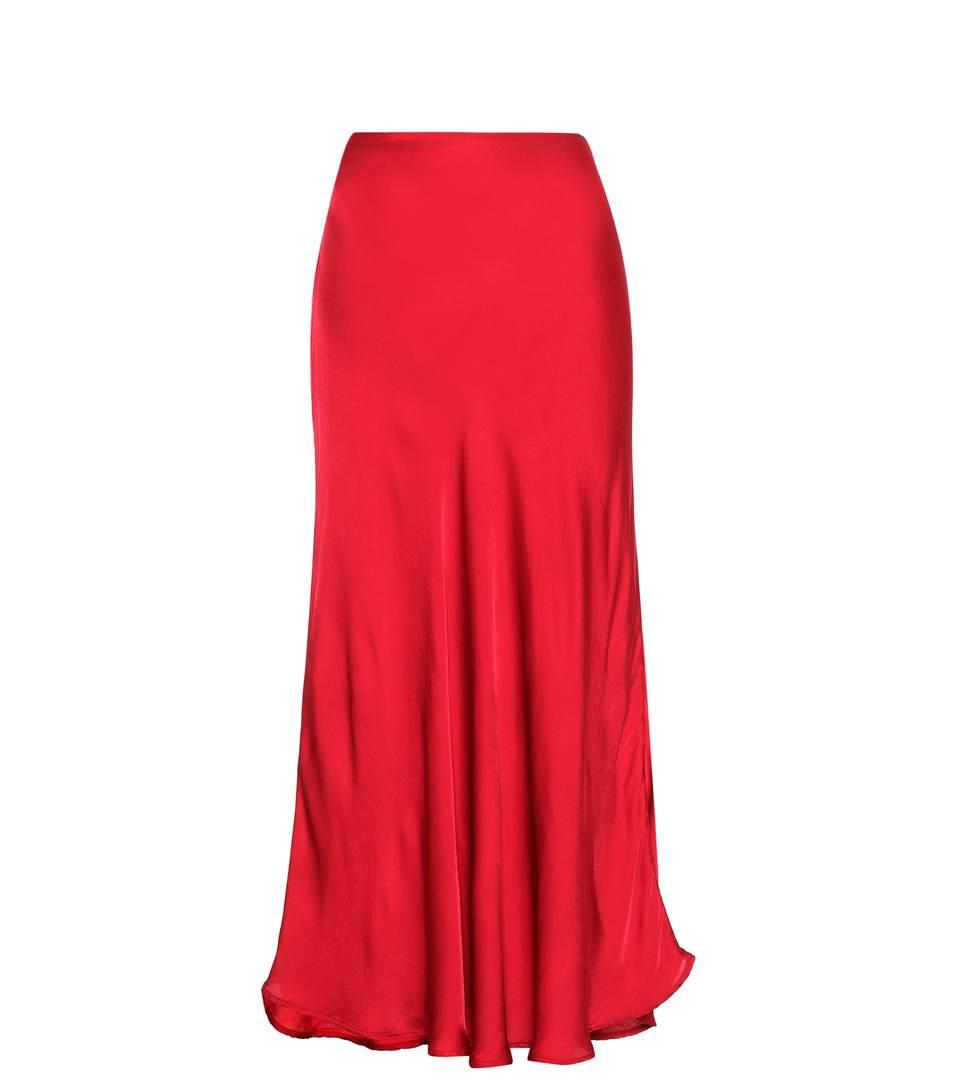 Velvet Zelah Satin Skirt In Red