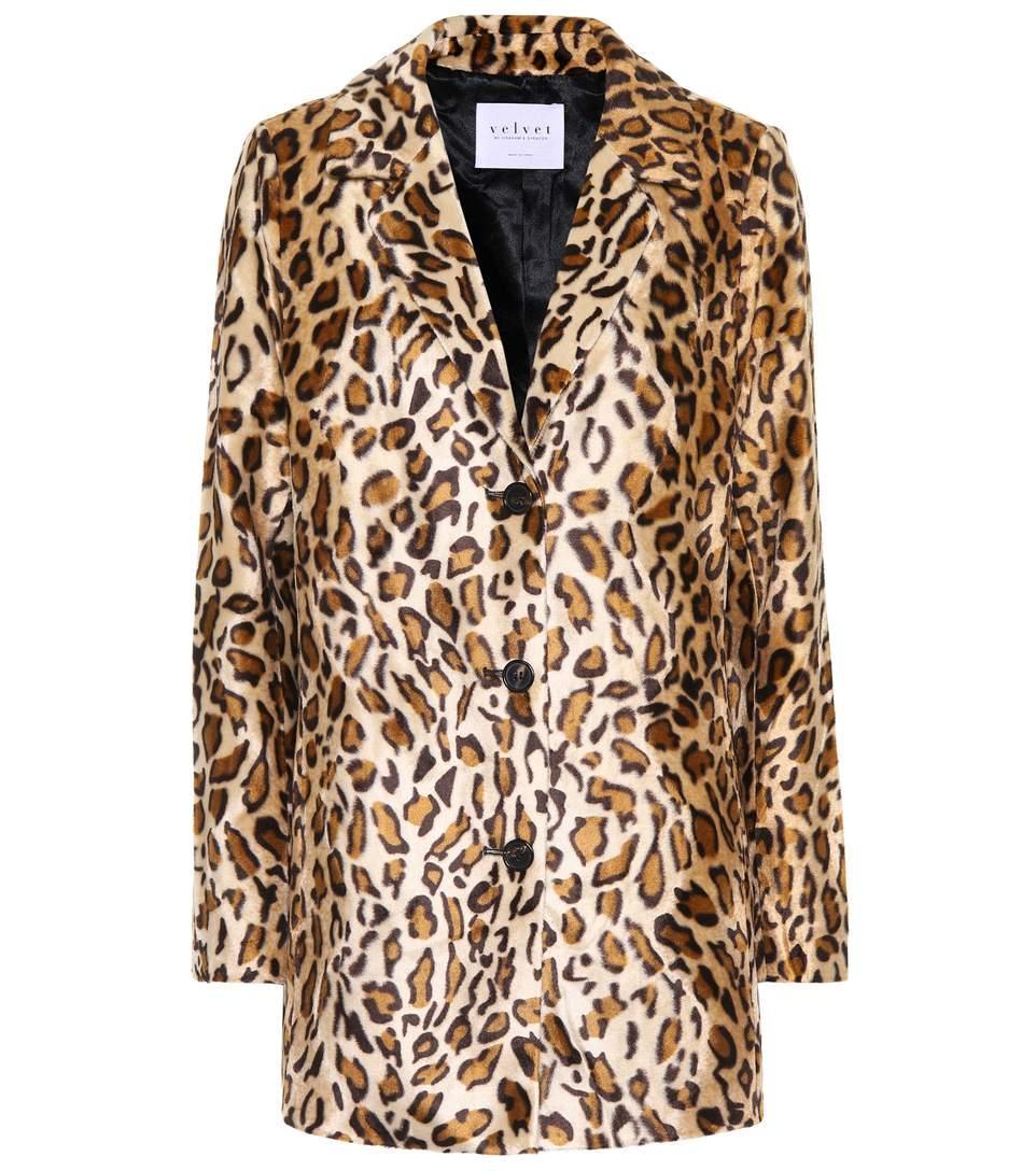 Velvet Celine Faux Fur Blazer In Brown