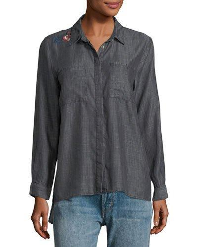 Velvet Heart Embroidered Button-down Top In Gray