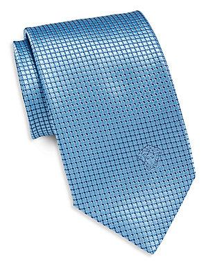 Versace Grid Neat Silk Tie In Sky Blue