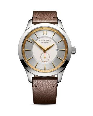 Victorinox Swiss Army Alliance Stainless Steel And Textured Leather-strap Watch In Silver
