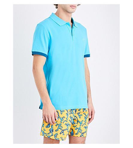 Vilebrequin Palatin Contrast-trim Cotton-piqué Polo Shirt In Aqua