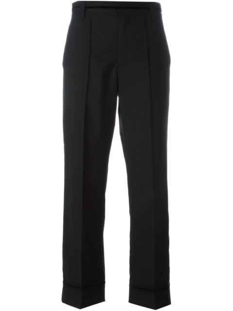 Marc Jacobs High-Rise Flared-Leg Stretch-Wool Cropped Pants In Black
