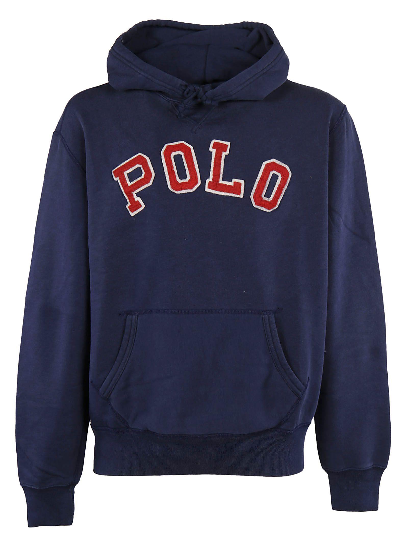 Ralph Lauren Polo  Logo Hoodie In Blue
