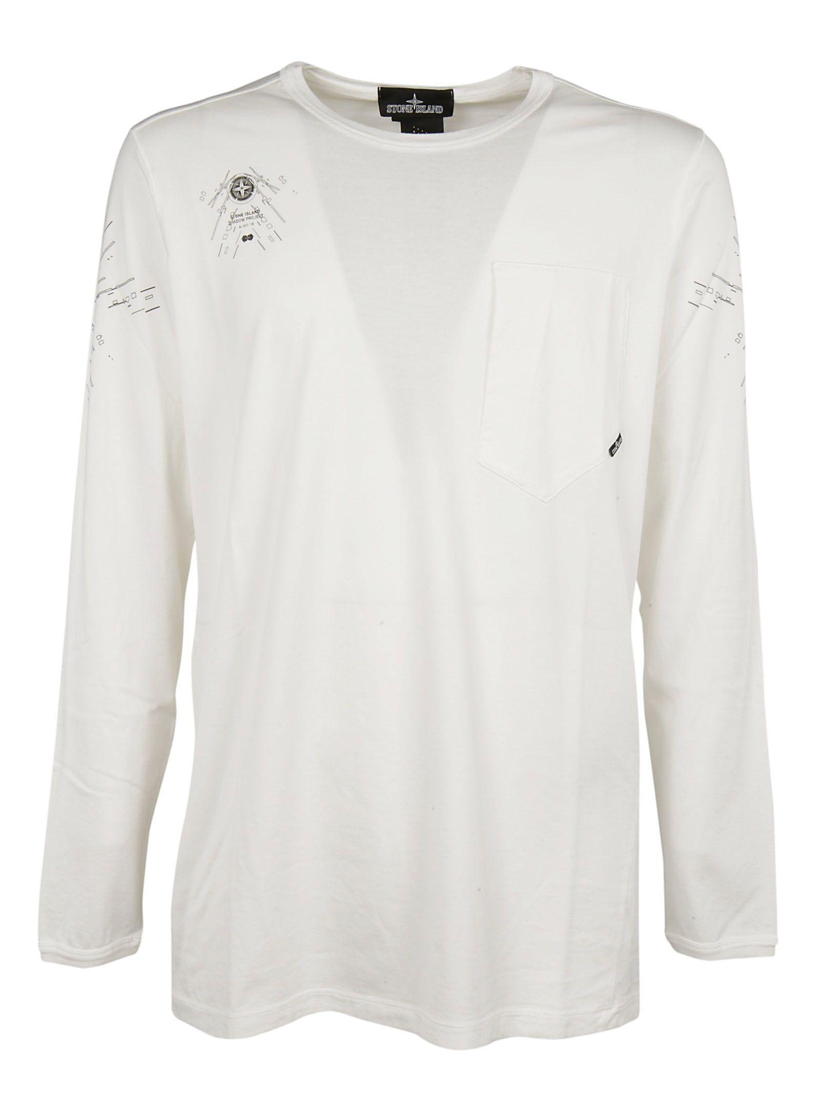 Stone Island Shadow Garment Dyed Sweatshirt In White