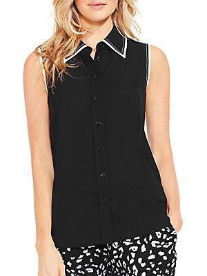 Vince Camuto Sleeveless Button-down Shirt In Black