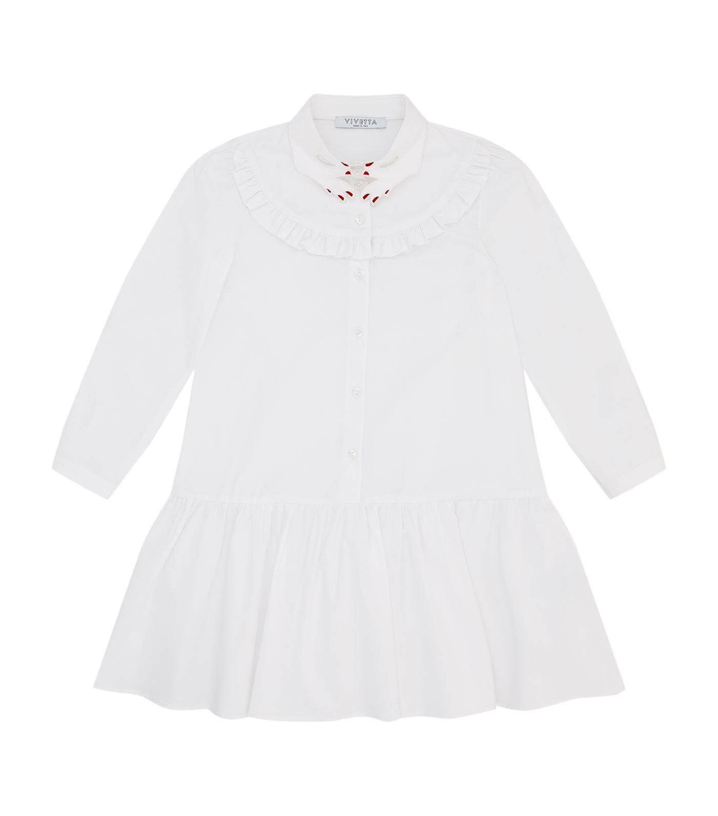 Vivetta Hand Collar Frill Dress In White