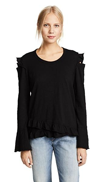 Wilt Raw Ruffle Cold Shoulder Tee In Black