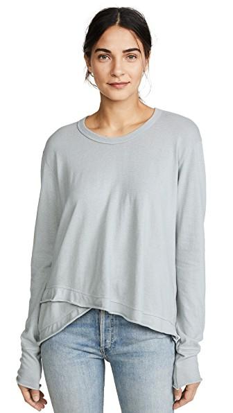 Wilt Lux Easy Slouchy Long Sleeve Tee In Mineral Blue
