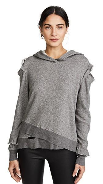 Wilt Ruffle Cold Shoulder Hoodie In Charcoal Heather