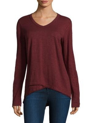 Wilt Shrunken V-neck Cotton Top In Cranberry