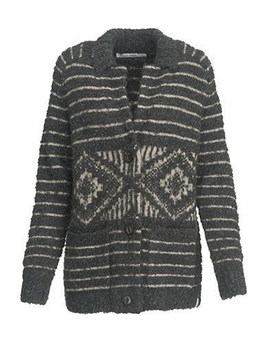 Woolrich Striped Sweater Coat-grey