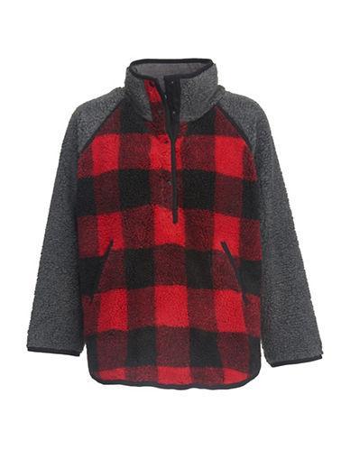 Woolrich Plaid Faux-fur Poncho-red
