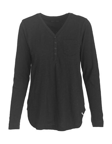 Woolrich Long-sleeve Cotton Henley-black