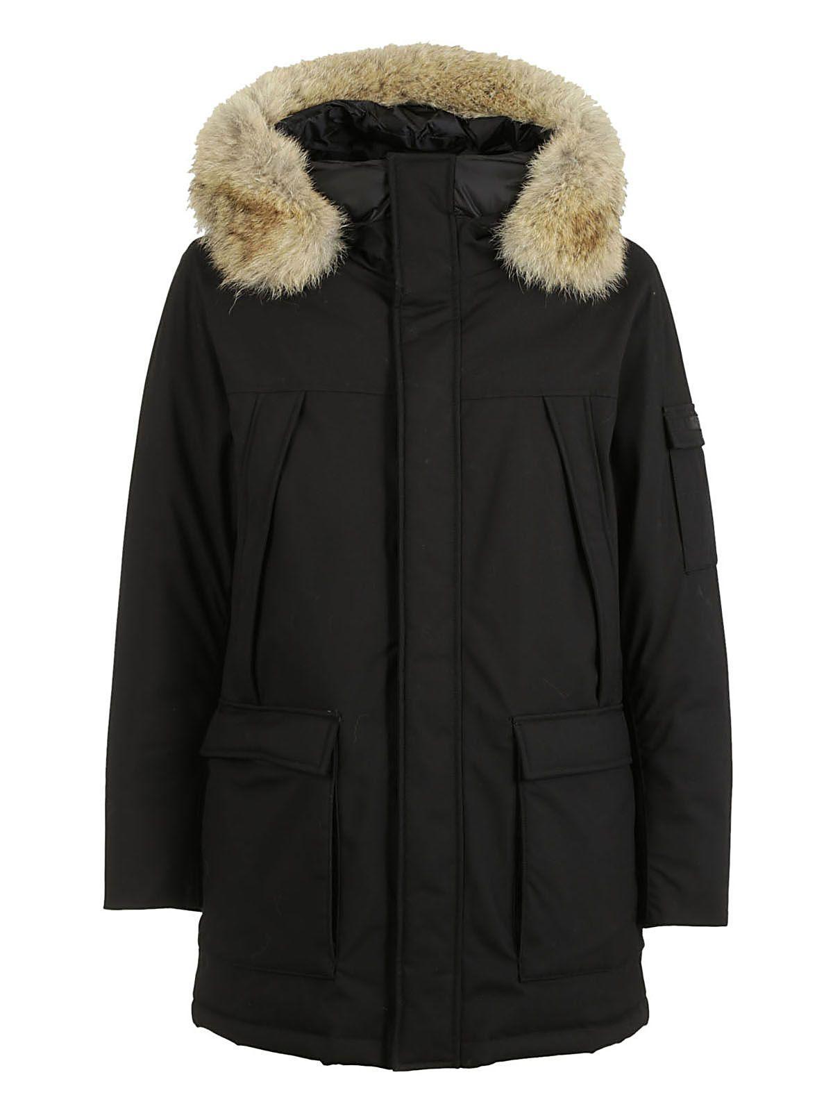 Woolrich Fur Detail Parka In Black