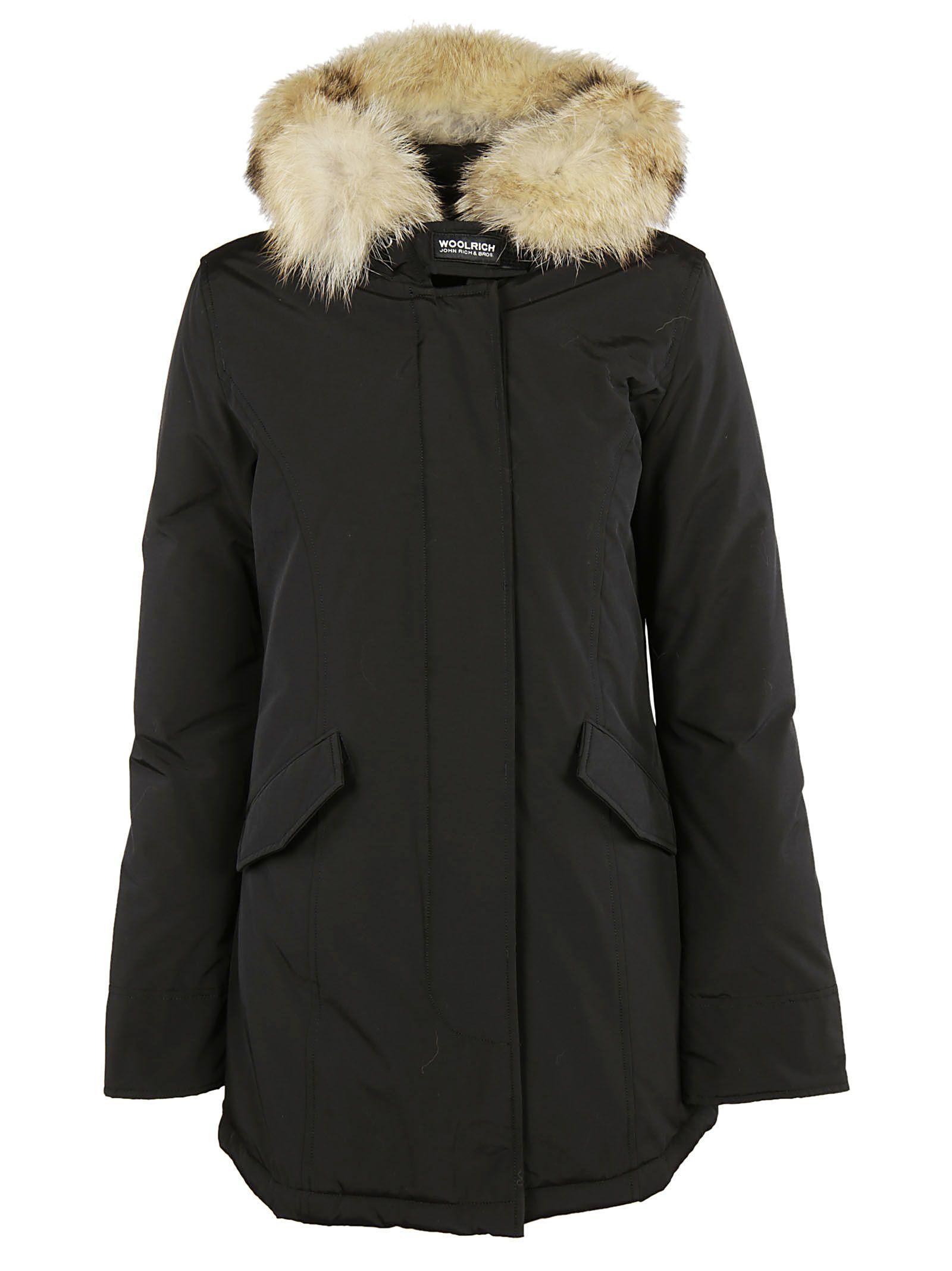 Woolrich Fur-trim Padded Parka In Black