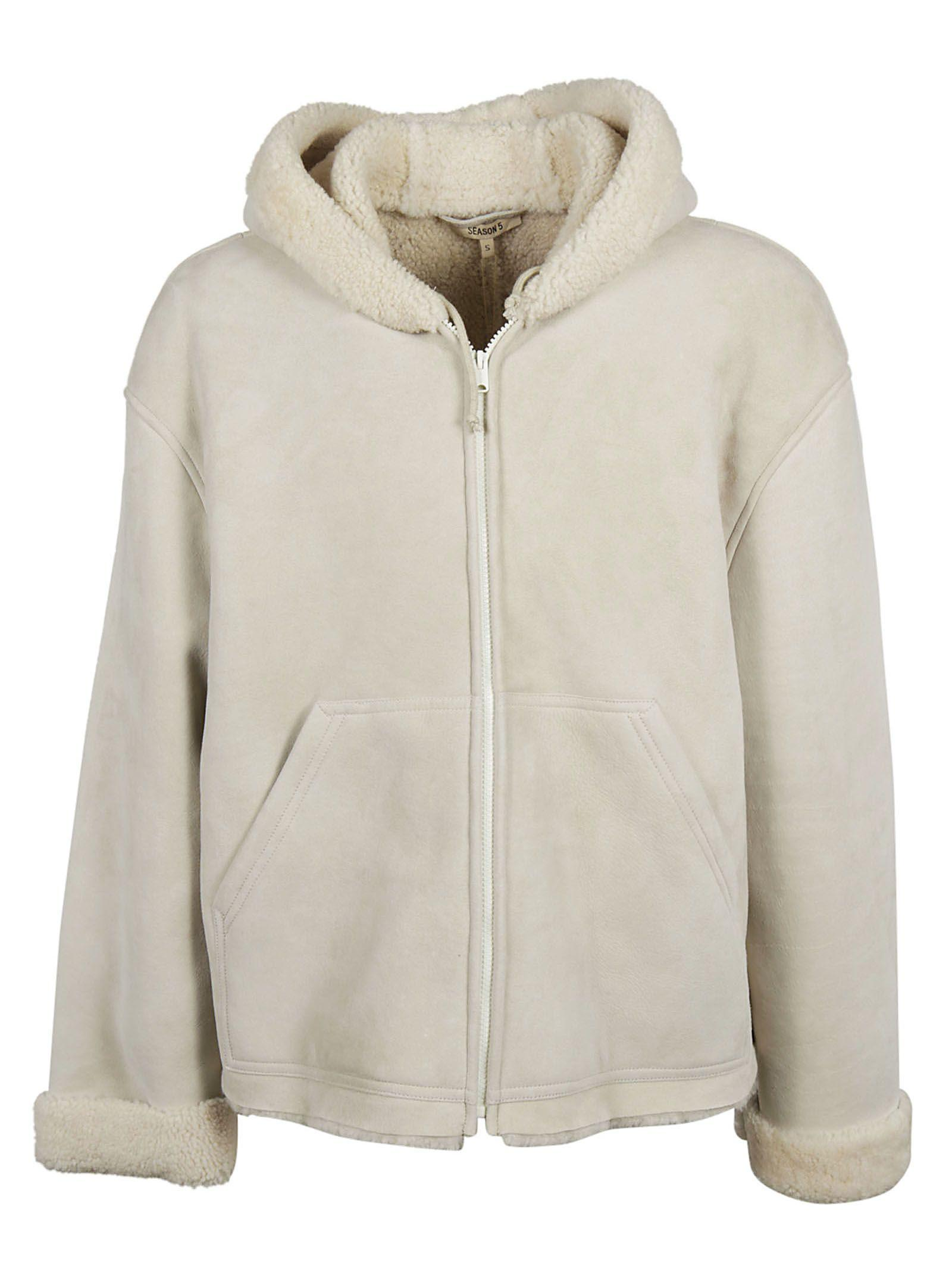 Yeezy Season 5 Hooded Shearling Jacket In Birch