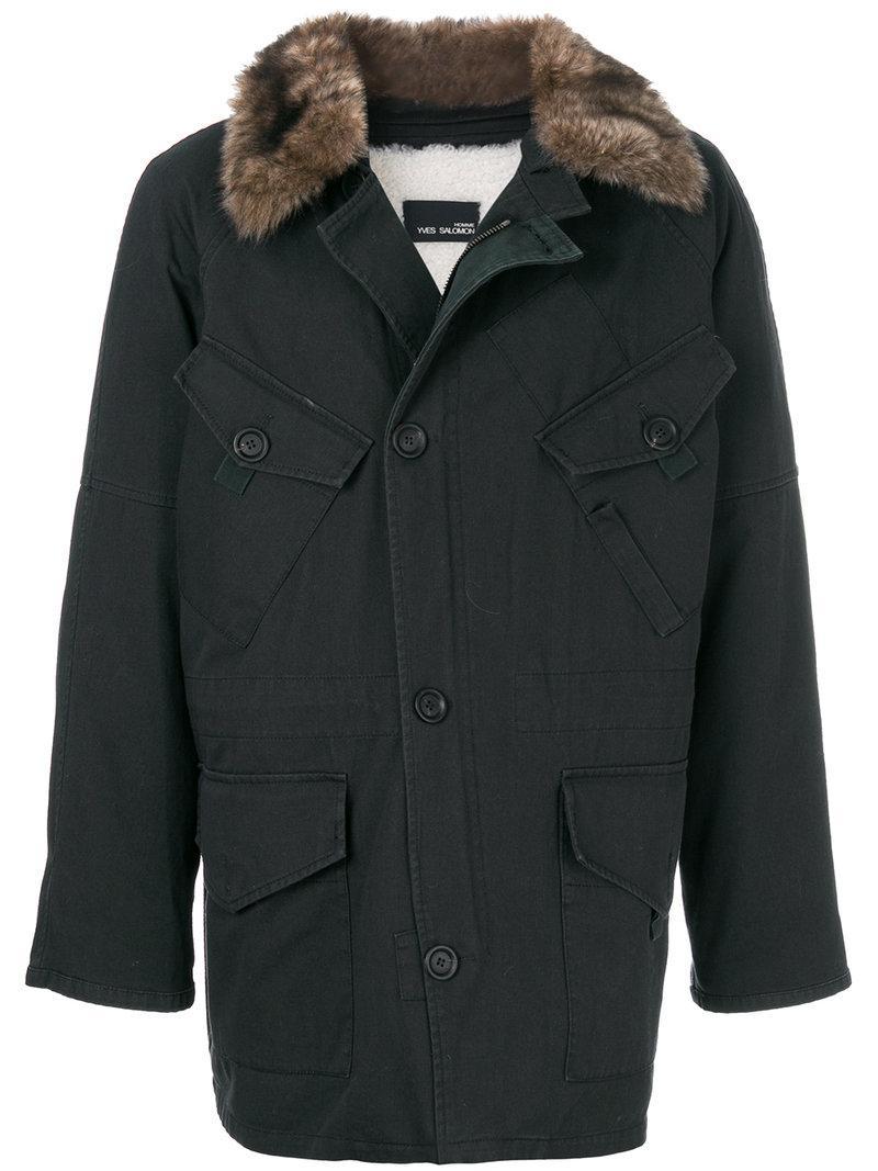 Yves Salomon Pocket Front Parka Coat