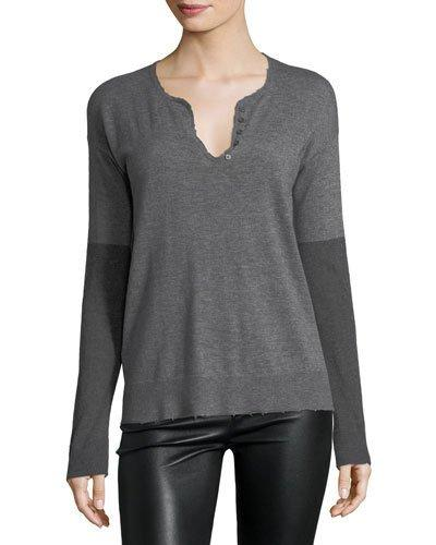 Zadig & Voltaire Celsa Long-sleeve Cashmere Henley Top In Gray