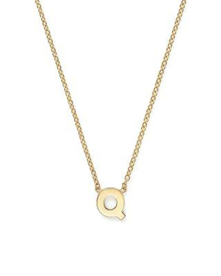 """ZoË Chicco 14K Yellow Gold Initial Necklace, 16"""" In Q"""