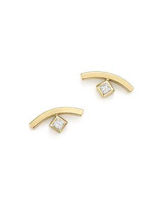 ZoË Chicco 14k Yellow Gold Curved Bar Earrings With Bezel Set Diamonds
