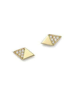 Zoë Chicco 14k Yellow Gold Half Pave Diamond Shape Stud Earrings In White/gold