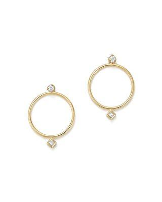 ZoË Chicco 14k Yellow Gold Diamond Circle Ear Jackets In White/gold