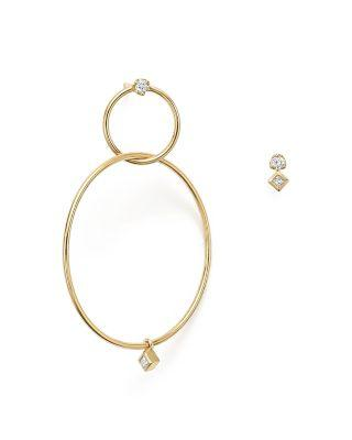 ZoË Chicco 14k Yellow Gold Mixed Diamond Stud And Hoop Earrings In White/gold