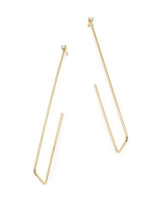 ZoË Chicco 14k Yellow Gold Rectangle Hoop Earrings With Diamond Studs In White/gold