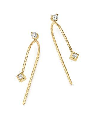 Zoë Chicco 14k Yellow Gold Wire Earrings With Diamonds In White/gold