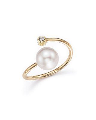 Zoë Chicco 14k Yellow Gold Bypass Ring With Cultured Freshwater Pearls And Diamonds In White/gold