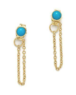 Zoë Chicco 14k Yellow Gold Draped Chain And Turquoise Stud Earrings