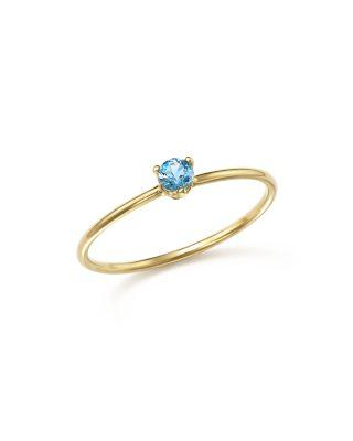 ZoË Chicco 14k Yellow Gold Stacking Ring With Aquamarine Stacking Ring - 100% Exclusive In Blue/gold