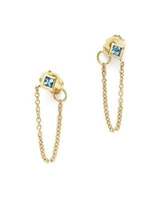 Zoë Chicco 14k Yellow Gold Draped Chain Stud Earrings With Aquamarine - 100% Exclusive In Blue/gold