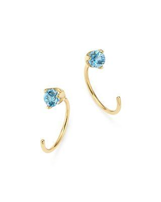 Zoë Chicco 14k Yellow Gold And Aquamarine Reverse Hoop Earrings - 100% Exclusive In Blue/gold