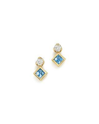 Zoë Chicco 14k Yellow Gold Icon Stud Earrings With Diamond And Aquamarine - 100% Exclusive In Blue/white