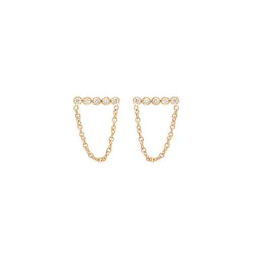 ZoË Chicco 14k Yellow Gold Draped Bezel Diamond Bar Studs
