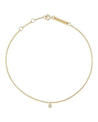 Zoë Chicco 14k Yellow Gold Diamond Charm Anklet In White/gold