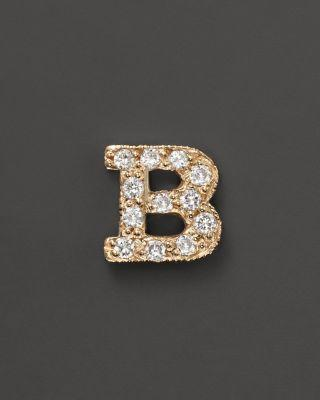 Zoë Chicco 14k Yellow Gold Pavé Initial Single Stud Earring, .04-.06 Ct. T.w. In B
