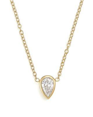 ZoË Chicco 14k Yellow Gold Pendant Necklace With Teardrop Diamond, 14