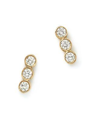 Zoë Chicco 14k Yellow Gold And Diamond Bezel-set Trio Earrings