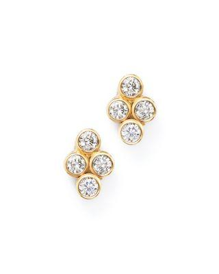 Zoë Chicco 14k Yellow Gold Quad Bezel Diamond Stud Earrings