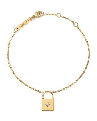 Zoë Chicco 14k Yellow Gold Padlock Charm Bracelet With Diamond In White/gold