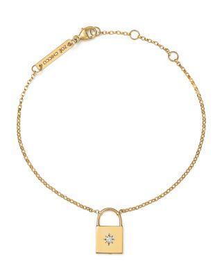 ZoË Chicco 14k Yellow Gold Padlock Charm Bracelet With Diamond In White/gold