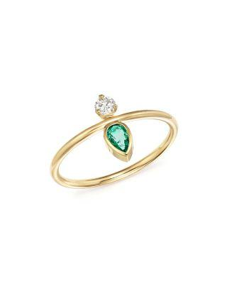 ZoË Chicco 14k Yellow Gold Vertical Diamond & Gemfields Pear-cut Emerald Ring In Green/gold