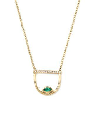ZoË Chicco 14k Yellow Gold Pave Diamond & Gemfields Emerald Marquise Horizon Necklace, 16 In Green/gold