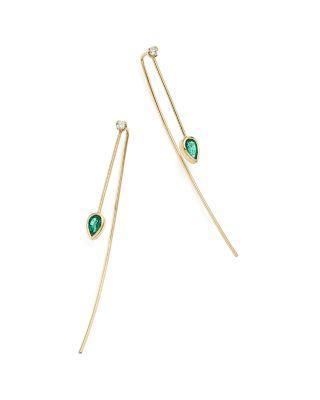 ZoË Chicco 14k Yellow Gold Diamond & Gemfields Emerald Threader Earrings In Green/gold