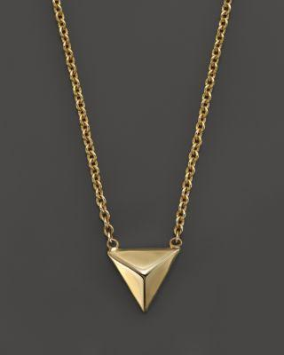 ZoË Chicco 14k Yellow Gold Triangle Pyramid Necklace, 16