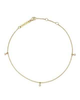 ZoË Chicco 14k Yellow Gold Triple Diamond Charm Anklet In White/gold