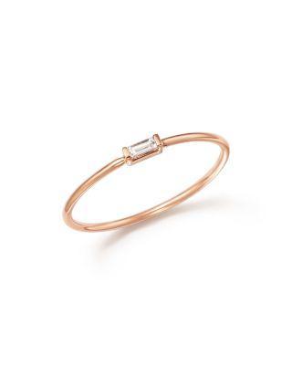 Zoë Chicco 14k Rose Gold Diamond Baguette Ring In White/rose